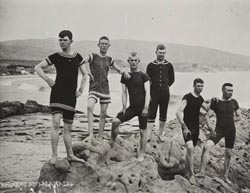 Young men at Laguna Beach, circa 1889.